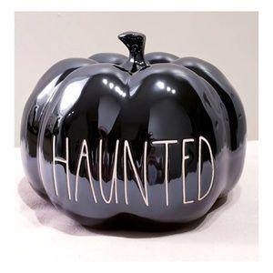 "Rae Dunn Black Iridescent Shiny ""HAUNTED"" Pumpkin"